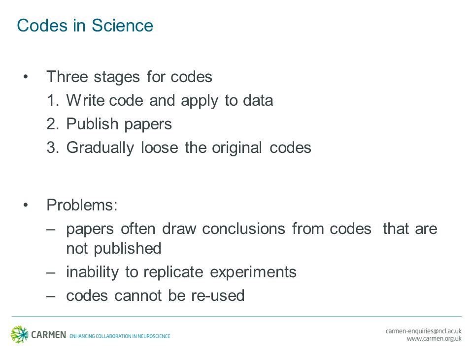 Codes in Science Three stages for codes 1.Write code and apply to data 2.Publish papers 3.Gradually loose the original codes Problems: –papers often draw conclusions from codes that are not published –inability to replicate experiments –codes cannot be re-used