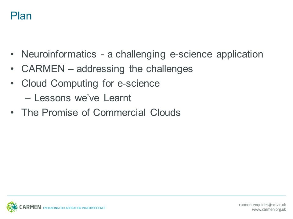 Plan Neuroinformatics - a challenging e-science application CARMEN – addressing the challenges Cloud Computing for e-science –Lessons we've Learnt The Promise of Commercial Clouds