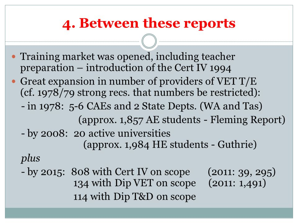 4. Between these reports Training market was opened, including teacher preparation – introduction of the Cert IV 1994 Great expansion in number of pro