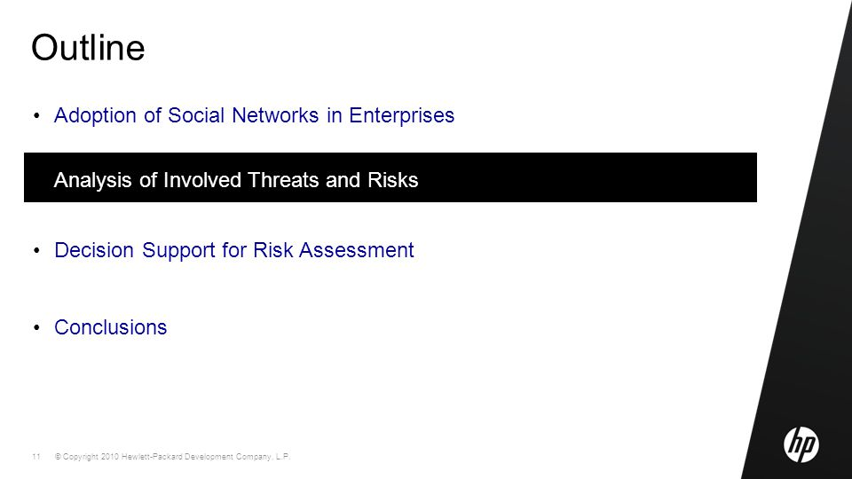 © Copyright 2010 Hewlett-Packard Development Company, L.P. 11 Outline Adoption of Social Networks in Enterprises Analysis of Involved Threats and Risk