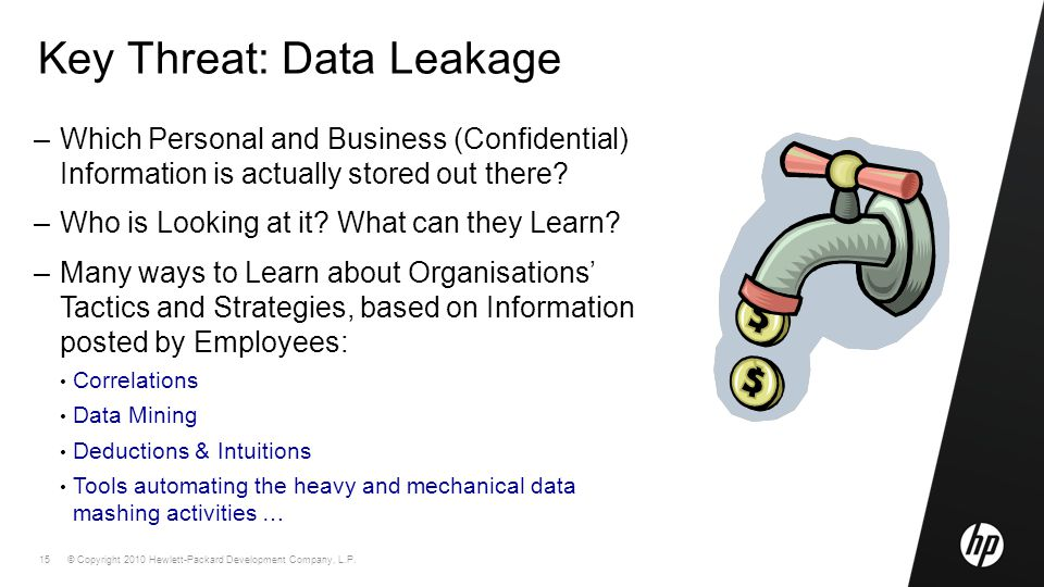 © Copyright 2010 Hewlett-Packard Development Company, L.P. 15 Key Threat: Data Leakage –Which Personal and Business (Confidential) Information is actu
