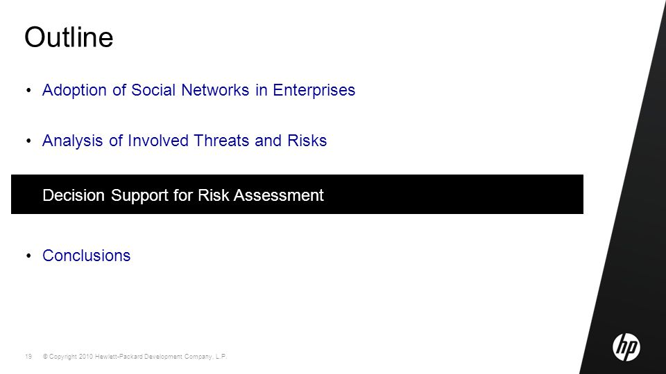 © Copyright 2010 Hewlett-Packard Development Company, L.P. 19 Outline Adoption of Social Networks in Enterprises Analysis of Involved Threats and Risk