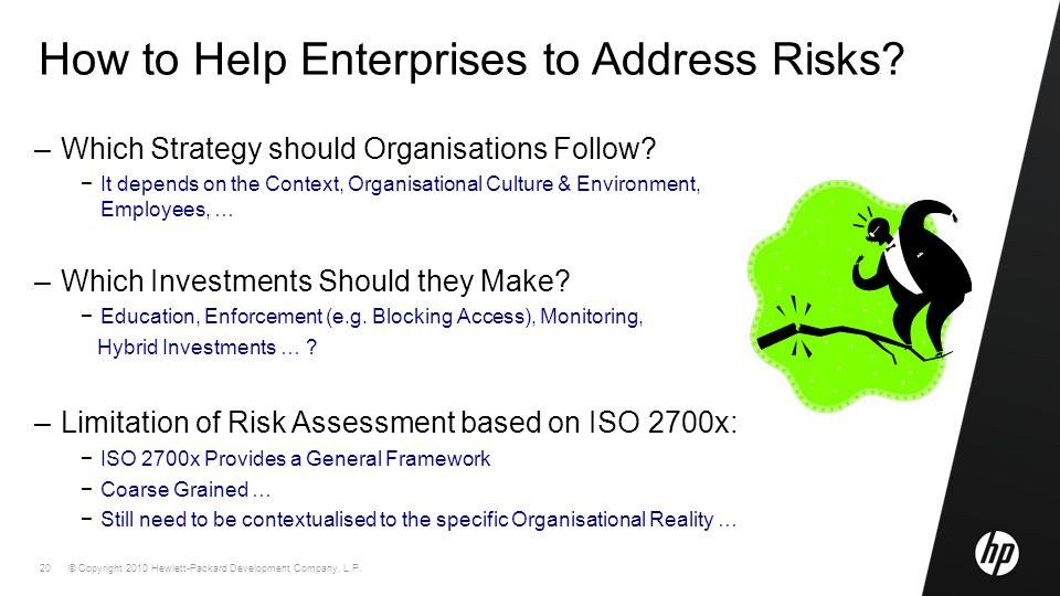 © Copyright 2010 Hewlett-Packard Development Company, L.P. 20 How to Help Enterprises to Address Risks? –Which Strategy should Organisations Follow? −