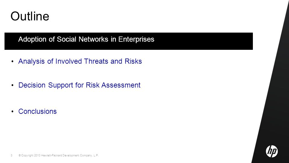 © Copyright 2010 Hewlett-Packard Development Company, L.P. 3 Outline Adoption of Social Networks in Enterprises Analysis of Involved Threats and Risks
