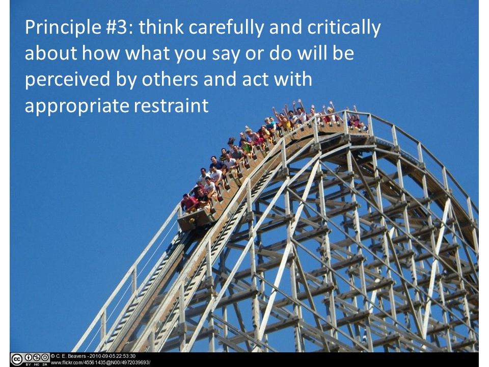 Principle #3: think carefully and critically about how what you say or do will be perceived by others and act with appropriate restraint
