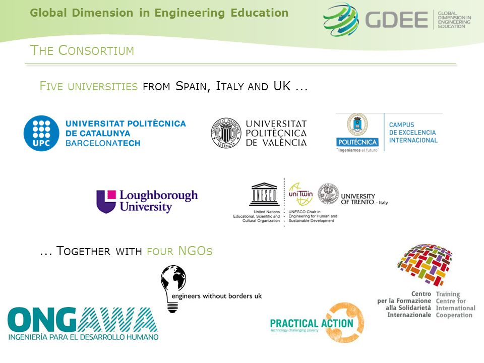 Global Dimension in Engineering Education T HE C ONSORTIUM F IVE UNIVERSITIES FROM S PAIN, I TALY AND UK......