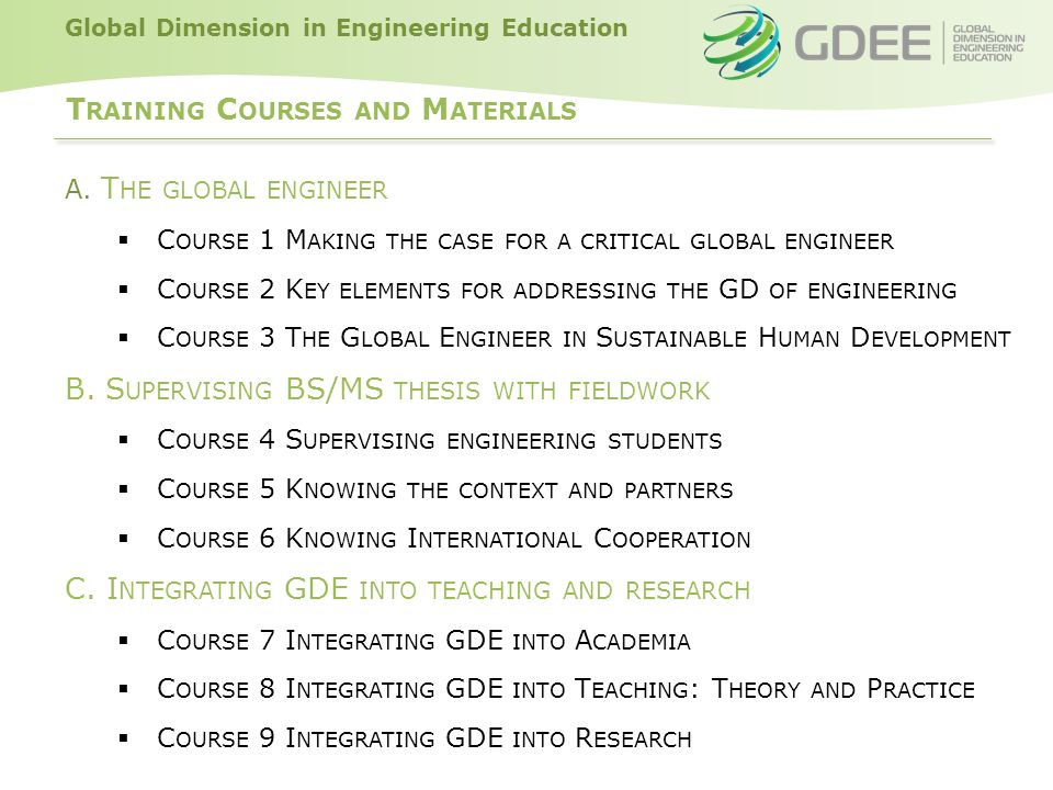 Global Dimension in Engineering Education T RAINING MATERIALS AND TEACHING RESOURCES  T HE TRAINING MATERIALS ARE AN O PEN E DUCATIONAL R ESOURCE (OER).