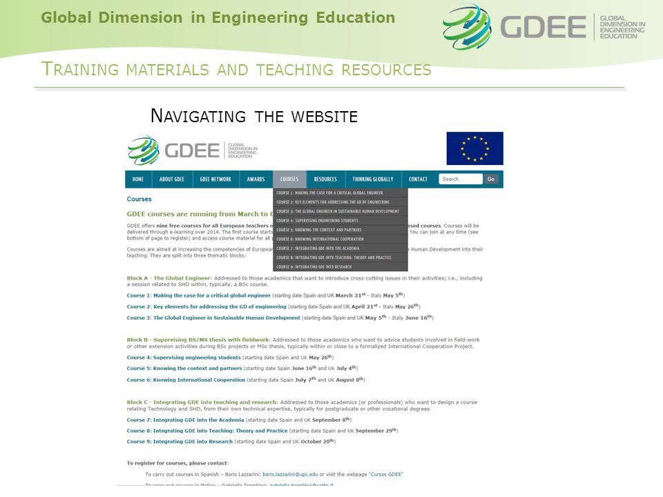 Global Dimension in Engineering Education T RAINING MATERIALS AND TEACHING RESOURCES N AVIGATING THE WEBSITE
