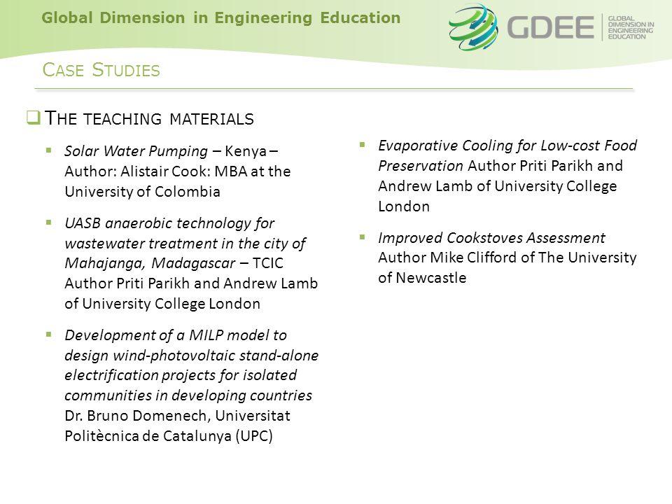Global Dimension in Engineering Education C ASE STUDIES N AVIGATING THE WEBSITE