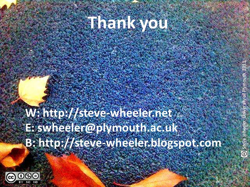 Thank you W: http://steve-wheeler.net E: swheeler@plymouth.ac.uk B: http://steve-wheeler.blogspot.com Steve Wheeler, University of Plymouth, 2011