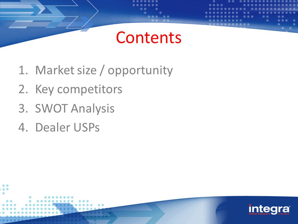 Contents 1.Market size / opportunity 2.Key competitors 3.SWOT Analysis 4.Dealer USPs