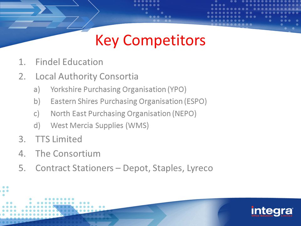 Key Competitors 1.Findel Education 2.Local Authority Consortia a)Yorkshire Purchasing Organisation (YPO) b)Eastern Shires Purchasing Organisation (ESPO) c)North East Purchasing Organisation (NEPO) d)West Mercia Supplies (WMS) 3.TTS Limited 4.The Consortium 5.Contract Stationers – Depot, Staples, Lyreco