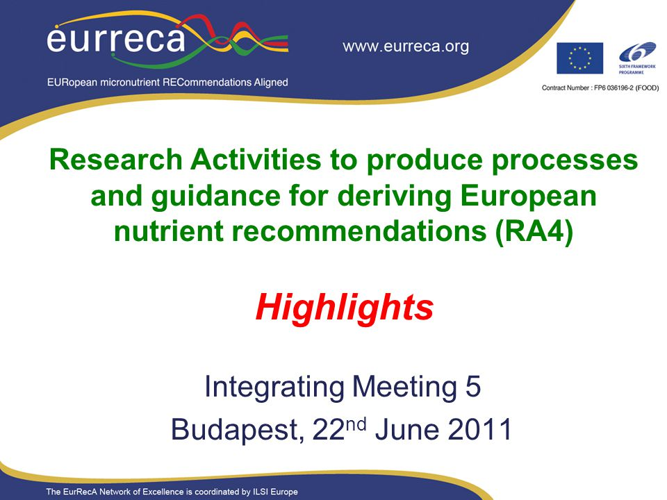 Research Activities to produce processes and guidance for deriving European nutrient recommendations (RA4) Highlights Integrating Meeting 5 Budapest,