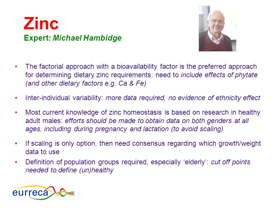 Zinc Expert: Michael Hambidge The factorial approach with a bioavailability factor is the preferred approach for determining dietary zinc requirements