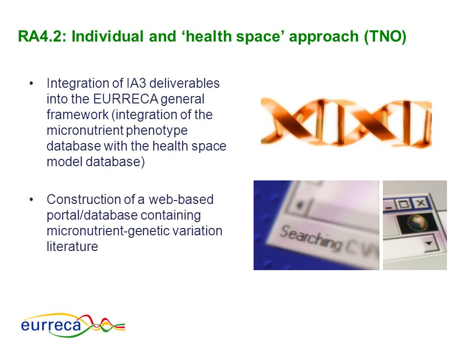 Integration of IA3 deliverables into the EURRECA general framework (integration of the micronutrient phenotype database with the health space model da