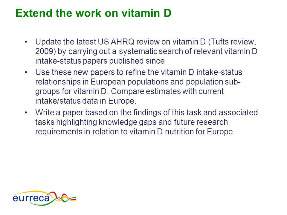 Extend the work on vitamin D Update the latest US AHRQ review on vitamin D (Tufts review, 2009) by carrying out a systematic search of relevant vitami