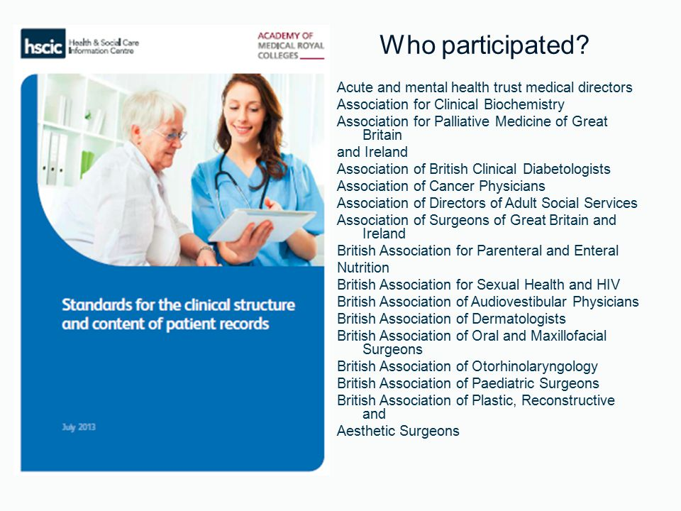 Acute and mental health trust medical directors Association for Clinical Biochemistry Association for Palliative Medicine of Great Britain and Ireland Association of British Clinical Diabetologists Association of Cancer Physicians Association of Directors of Adult Social Services Association of Surgeons of Great Britain and Ireland British Association for Parenteral and Enteral Nutrition British Association for Sexual Health and HIV British Association of Audiovestibular Physicians British Association of Dermatologists British Association of Oral and Maxillofacial Surgeons British Association of Otorhinolaryngology British Association of Paediatric Surgeons British Association of Plastic, Reconstructive and Aesthetic Surgeons Who participated