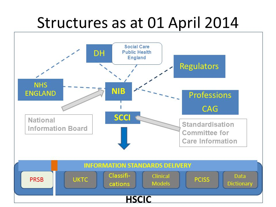 Structures as at 01 April 2014 NIB Regulators SCCI DH NHS ENGLAND Professions CAG National Information Board Standardisation Committee for Care Inform