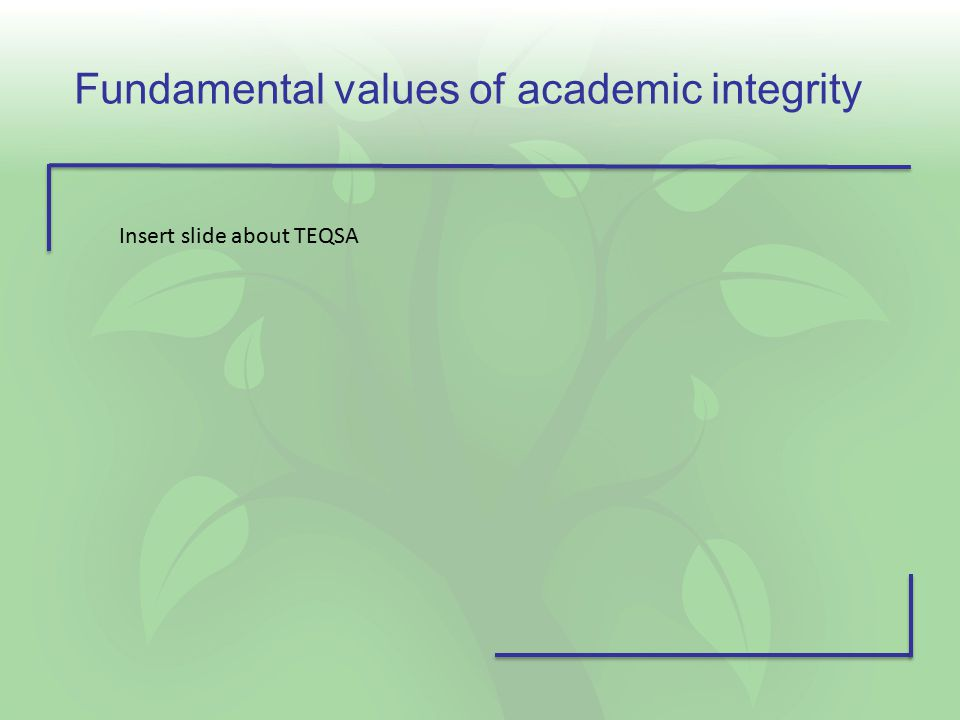 Fundamental values of academic integrity Insert slide about TEQSA