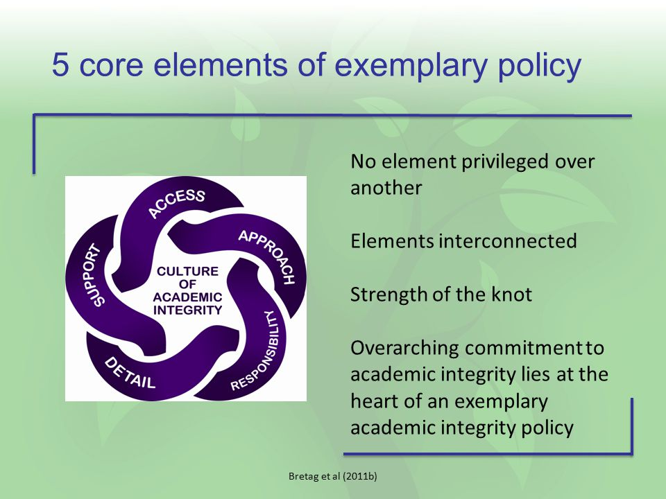 Bretag et al (2011b) 5 core elements of exemplary policy No element privileged over another Elements interconnected Strength of the knot Overarching c