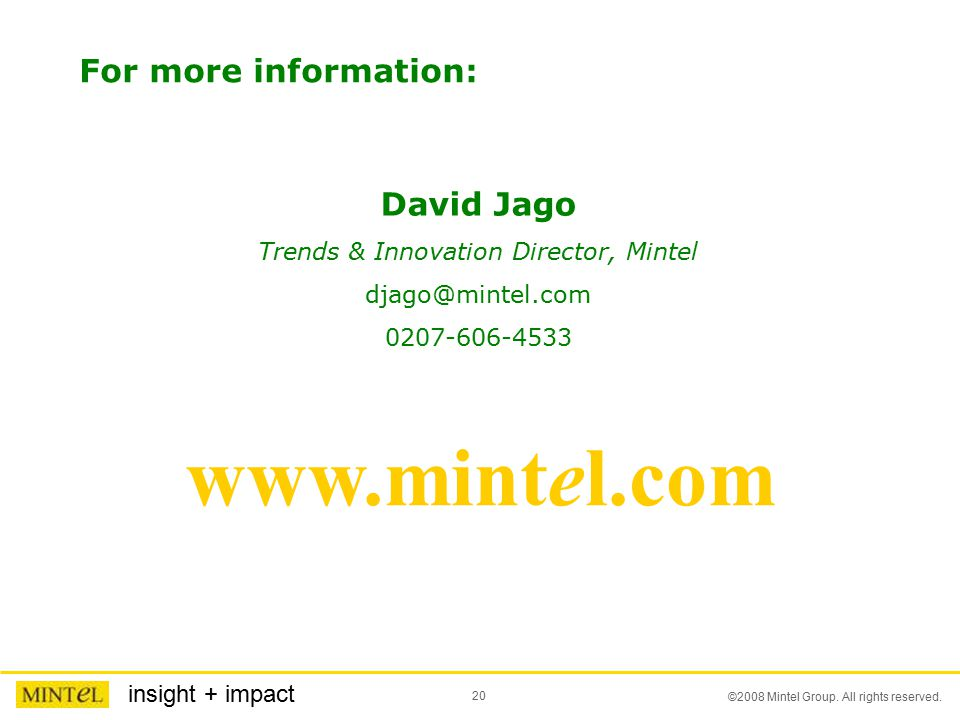 20 ©2008 Mintel Group. All rights reserved.