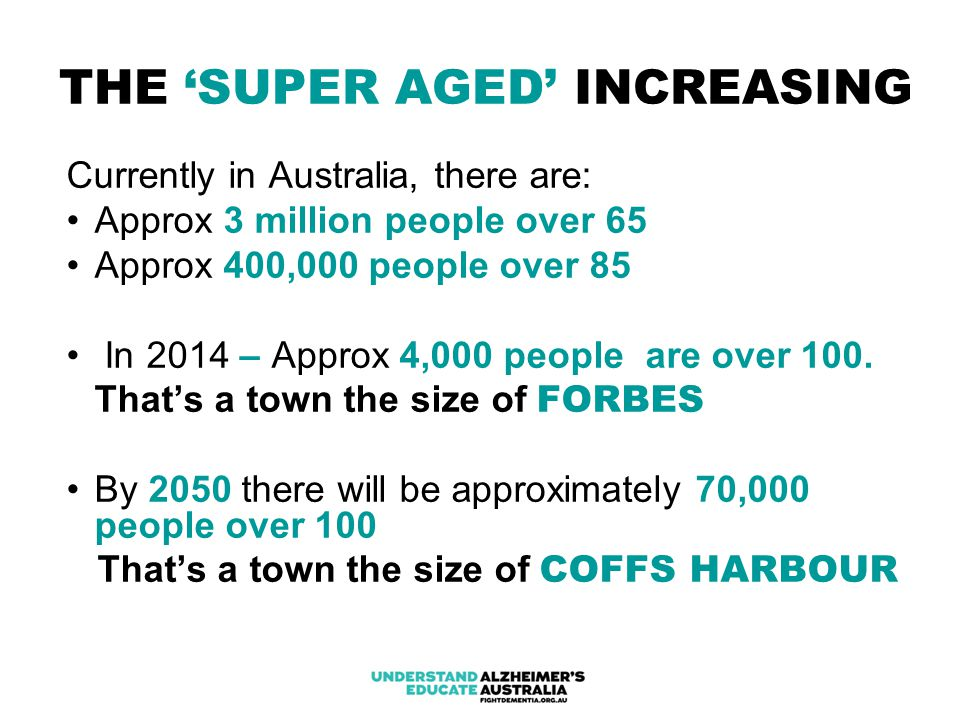 THE 'SUPER AGED' INCREASING Currently in Australia, there are: Approx 3 million people over 65 Approx 400,000 people over 85 In 2014 – Approx 4,000 people are over 100.