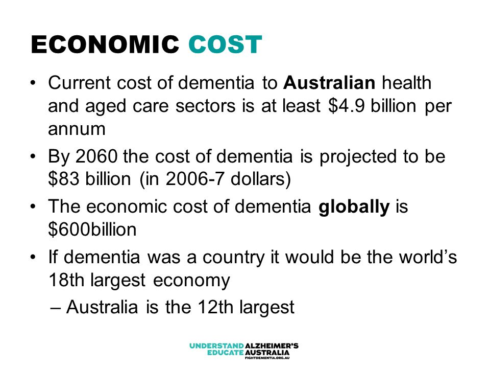 ECONOMIC COST Current cost of dementia to Australian health and aged care sectors is at least $4.9 billion per annum By 2060 the cost of dementia is projected to be $83 billion (in 2006-7 dollars) The economic cost of dementia globally is $600billion If dementia was a country it would be the world's 18th largest economy – Australia is the 12th largest