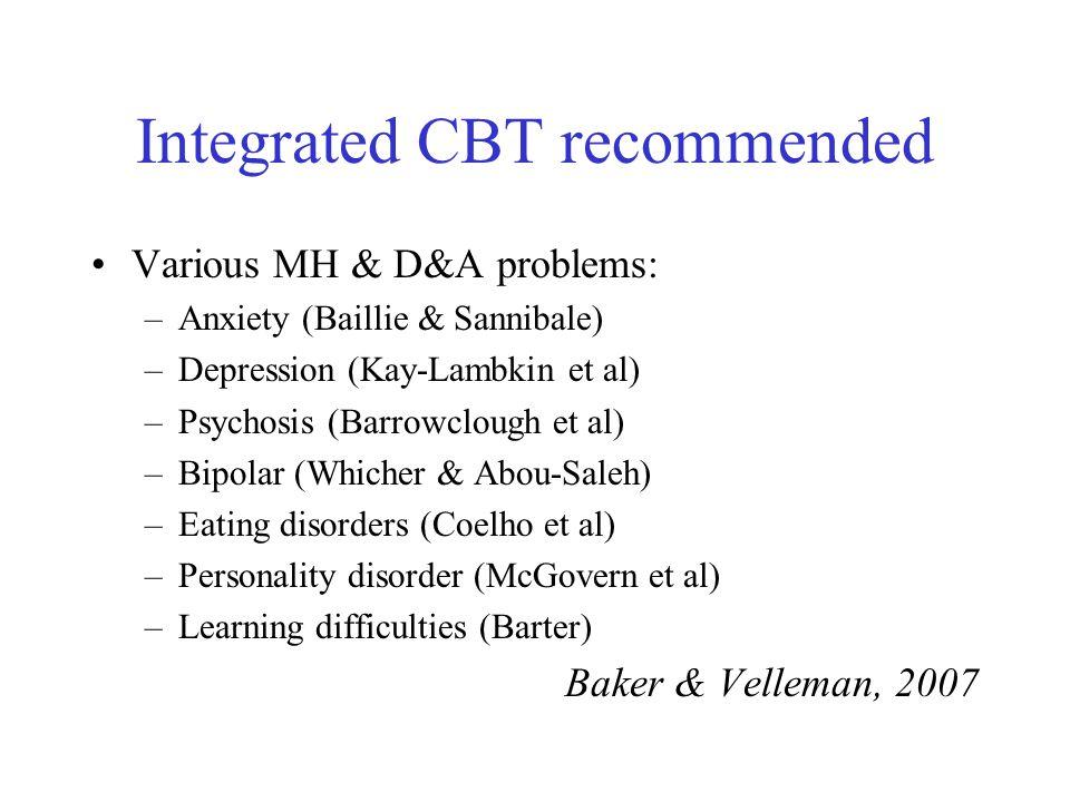 Integrated CBT recommended Various MH & D&A problems: –Anxiety (Baillie & Sannibale) –Depression (Kay-Lambkin et al) –Psychosis (Barrowclough et al) –