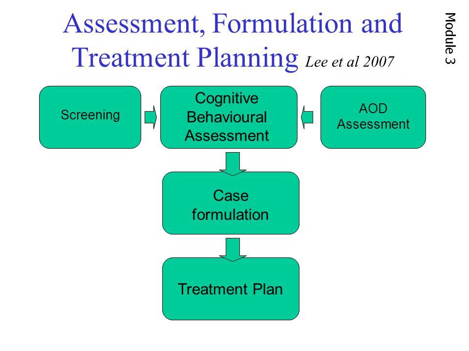 Assessment, Formulation and Treatment Planning Lee et al 2007 Screening Cognitive Behavioural Assessment Case formulation Treatment Plan AOD Assessment Module 3