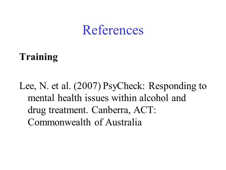 References Training Lee, N. et al.