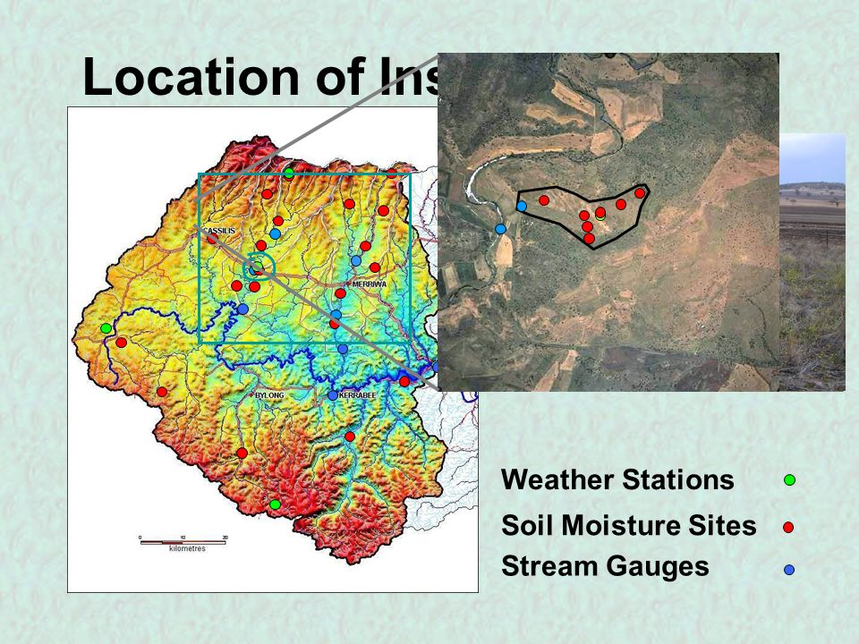 Location of Instrumentation Weather Stations Soil Moisture Sites Stream Gauges