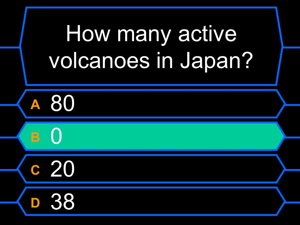 How many active volcanoes in Japan A 80 B 0 C 20 D 38