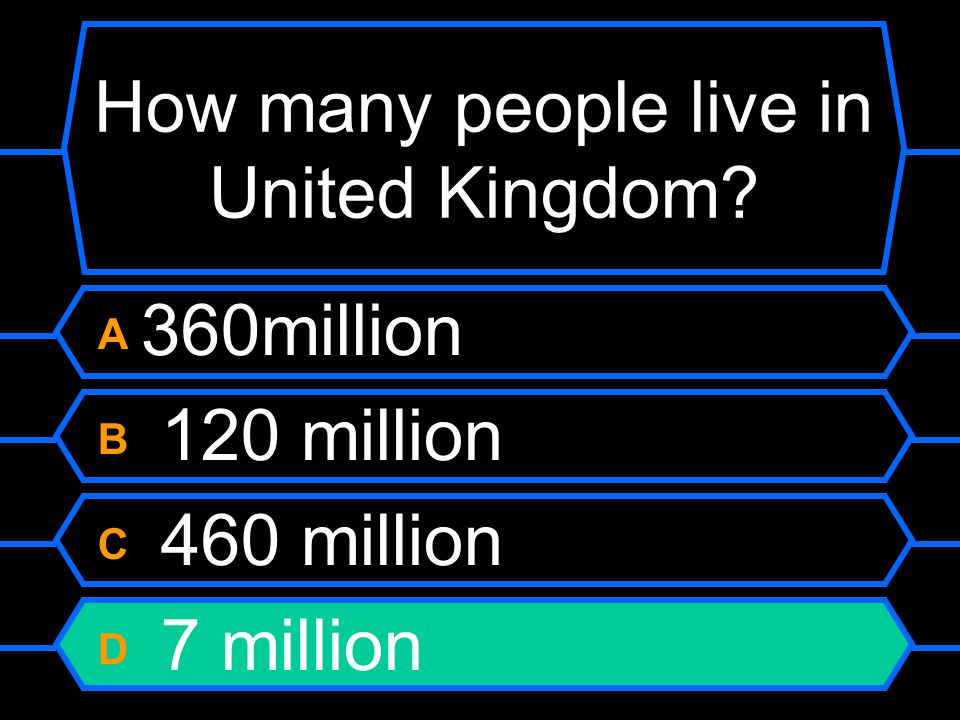 How many people live in United Kingdom A 360 million B 120 million C 460 million D 7 million