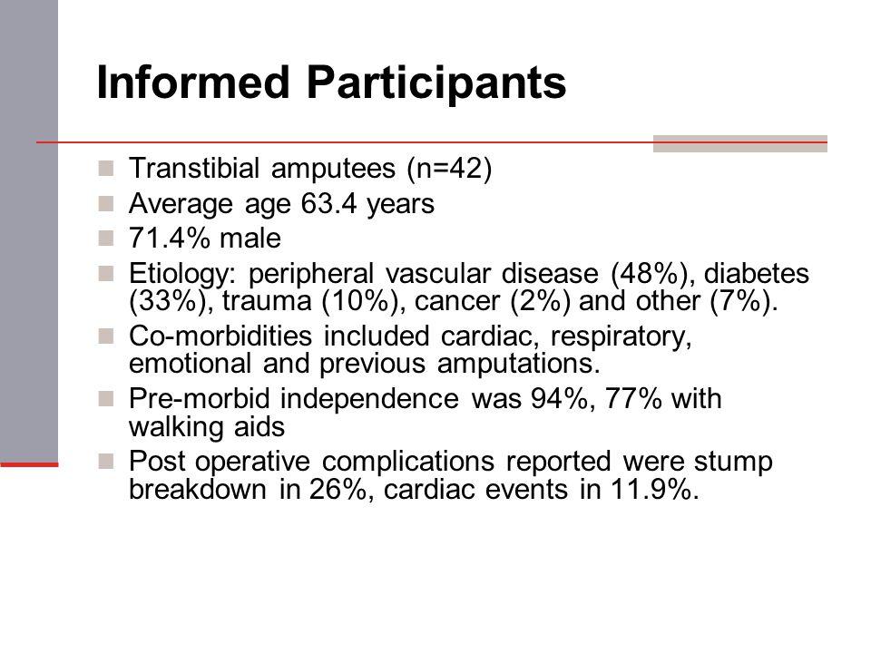 Informed Participants Transtibial amputees (n=42) Average age 63.4 years 71.4% male Etiology: peripheral vascular disease (48%), diabetes (33%), traum