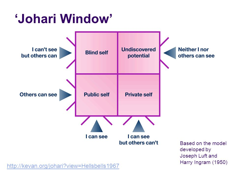 'Johari Window' Based on the model developed by Joseph Luft and Harry Ingram (1950) http://kevan.org/johari?view=Hellsbells1967
