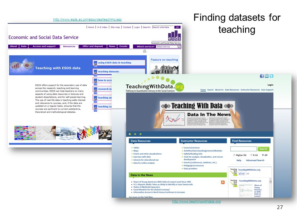 http://www.esds.ac.uk/resources/teaching.asp Finding datasets for teaching http://www.teachingwithdata.org/ 27