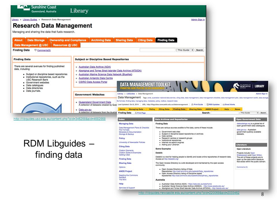 8 RDM Libguides – finding data http://libguides.usc.edu.au/content.php pid=345268&sid=4682658 http://libguides.newcastle.edu.au/content.php pid=220059&sid=2033452