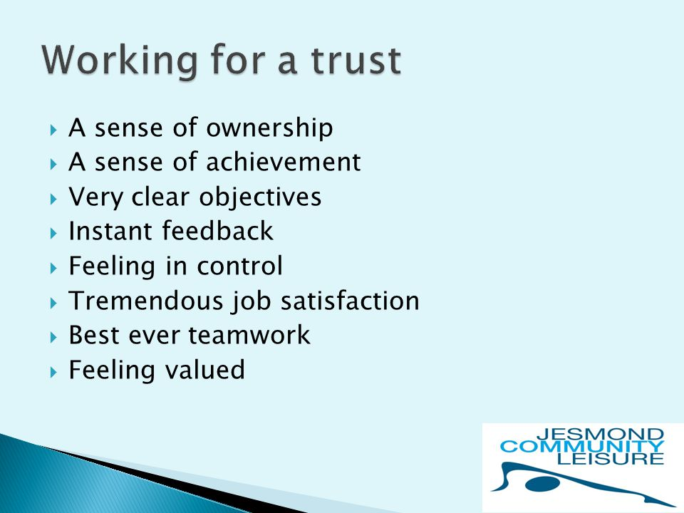  A sense of ownership  A sense of achievement  Very clear objectives  Instant feedback  Feeling in control  Tremendous job satisfaction  Best ever teamwork  Feeling valued