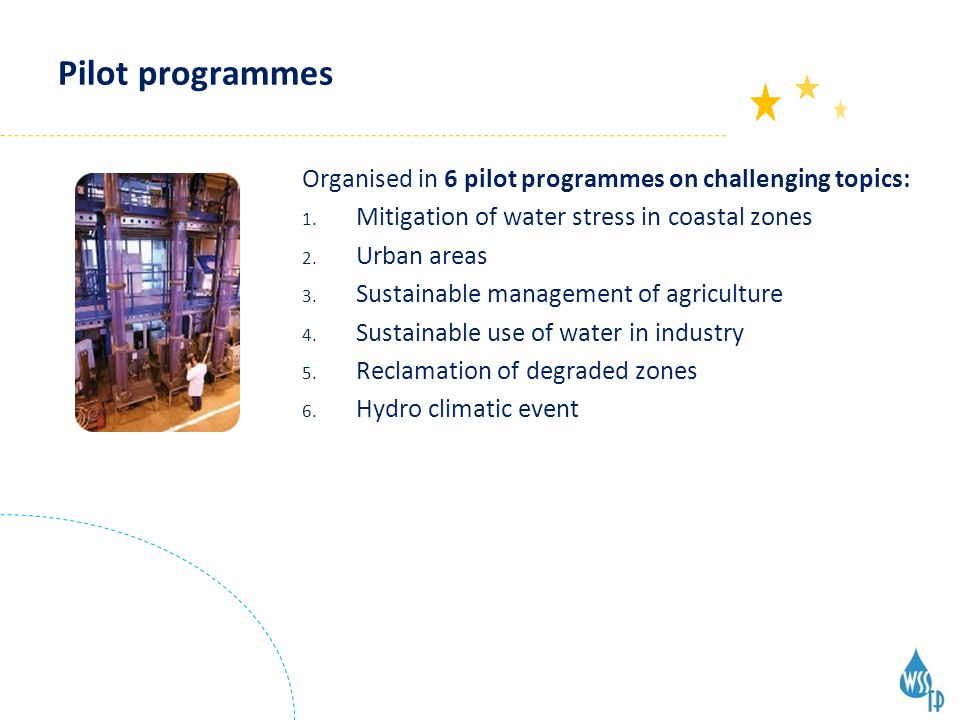 Pilot programmes Organised in 6 pilot programmes on challenging topics: 1.