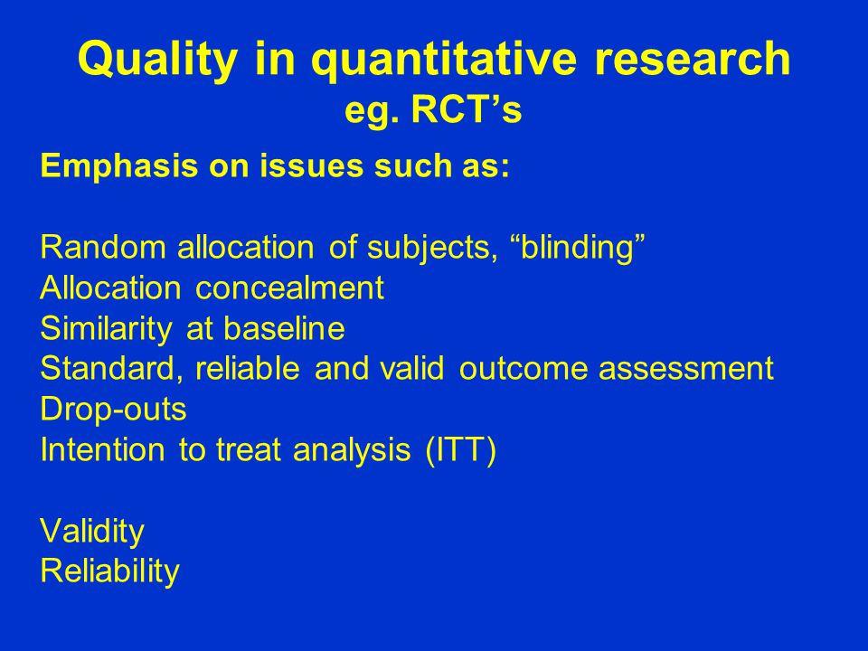 Quality in quantitative research eg.