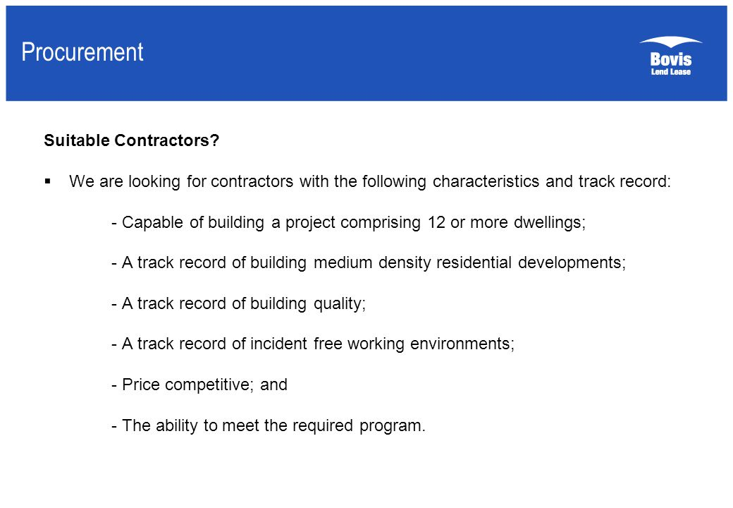Procurement Suitable Contractors.