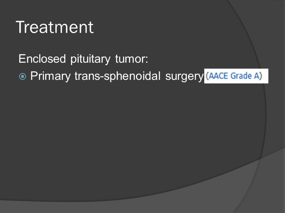 Treatment Enclosed pituitary tumor:  Primary trans-sphenoidal surgery