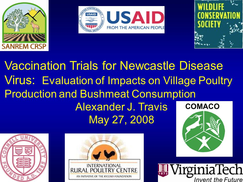 Vaccination Trials for Newcastle Disease Virus: Evaluation of Impacts on Village Poultry Production and Bushmeat Consumption Alexander J. Travis May 2