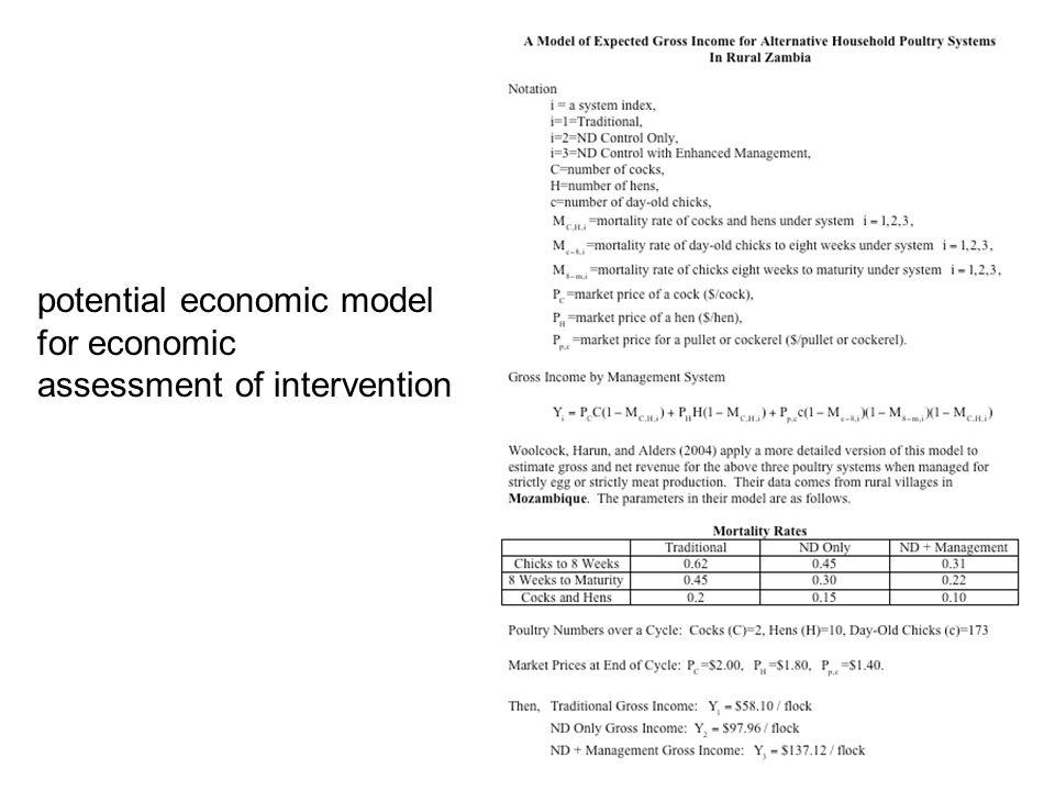 potential economic model for economic assessment of intervention
