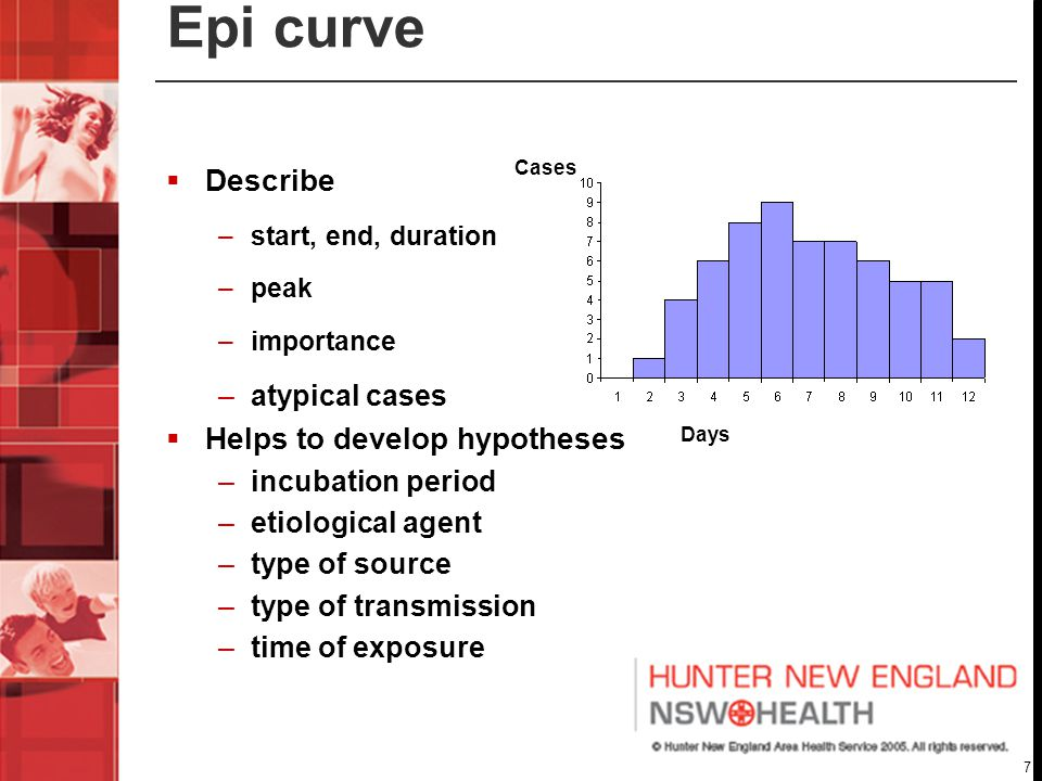 7 Epi curve  Describe –start, end, duration –peak –importance –atypical cases  Helps to develop hypotheses –incubation period –etiological agent –type of source –type of transmission –time of exposure Cases Days