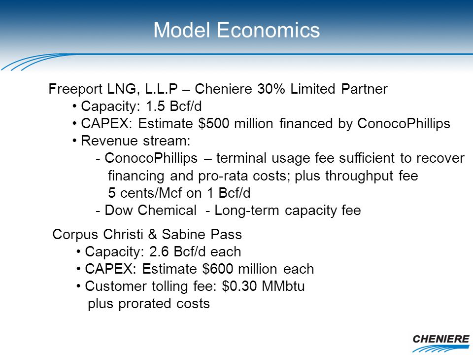Model Economics Freeport LNG, L.L.P – Cheniere 30% Limited Partner Capacity: 1.5 Bcf/d CAPEX: Estimate $500 million financed by ConocoPhillips Revenue stream: - ConocoPhillips – terminal usage fee sufficient to recover financing and pro-rata costs; plus throughput fee 5 cents/Mcf on 1 Bcf/d - Dow Chemical - Long-term capacity fee Corpus Christi & Sabine Pass Capacity: 2.6 Bcf/d each CAPEX: Estimate $600 million each Customer tolling fee: $0.30 MMbtu plus prorated costs