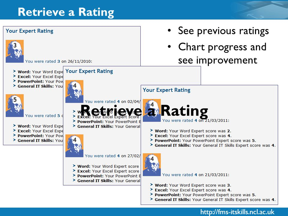 http://fms-itskills.ncl.ac.uk Retrieve a Rating See previous ratings Chart progress and see improvement Retrieve a Rating