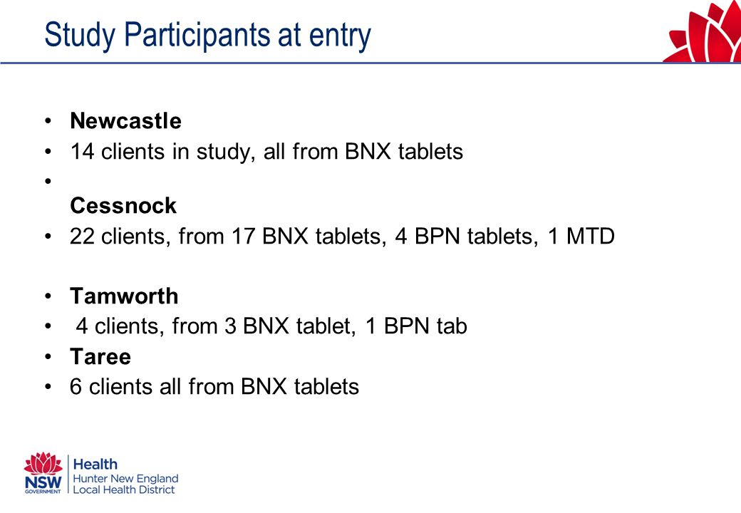 Study Participants at entry Newcastle 14 clients in study, all from BNX tablets Cessnock 22 clients, from 17 BNX tablets, 4 BPN tablets, 1 MTD Tamworth 4 clients, from 3 BNX tablet, 1 BPN tab Taree 6 clients all from BNX tablets