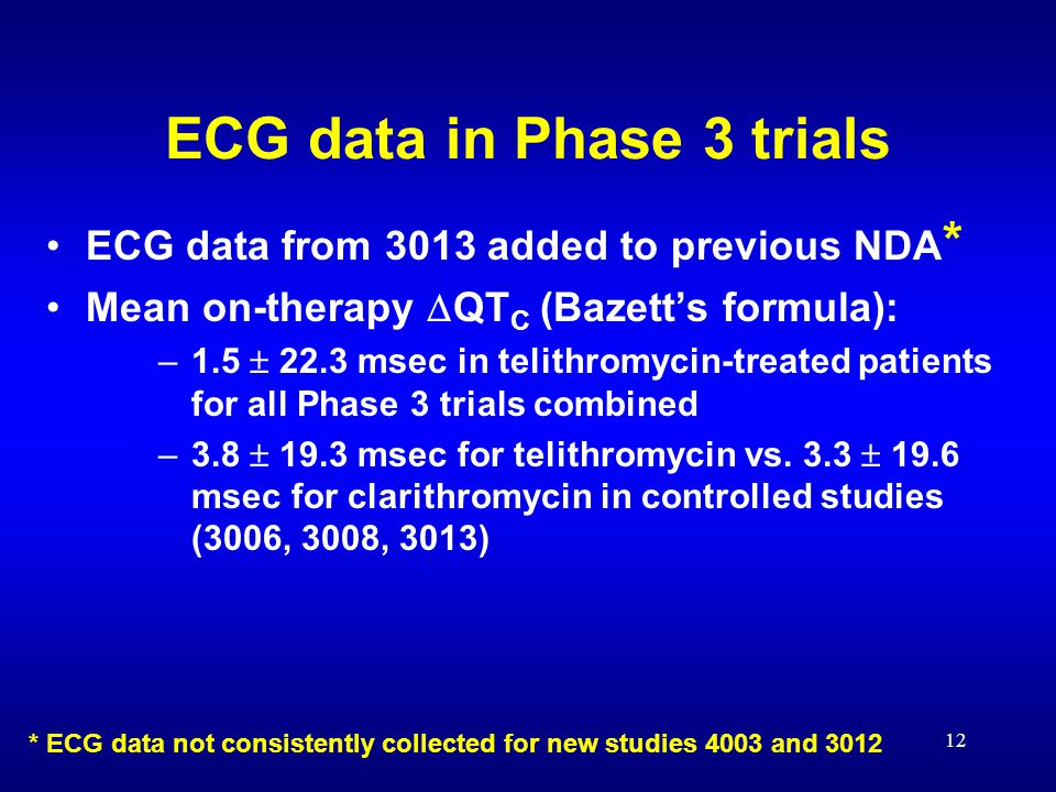 12 ECG data in Phase 3 trials ECG data from 3013 added to previous NDA * Mean on-therapy  QT C (Bazett's formula): –1.5  22.3 msec in telithromycin-treated patients for all Phase 3 trials combined –3.8  19.3 msec for telithromycin vs.