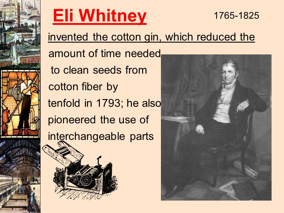 Eli Whitney 1765-1825 invented the cotton gin, which reduced the amount of time needed to clean seeds from cotton fiber by tenfold in 1793; he also pioneered the use of interchangeable parts
